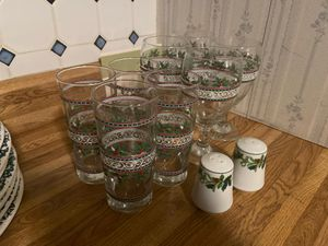 Christmas glasses & salt & pepper shakers for Sale in Peoria, IL