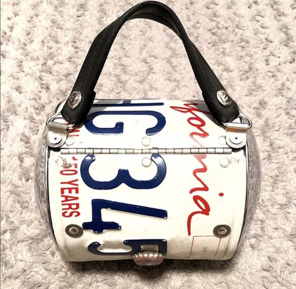 Little Earth California Plate Purse paid $375 Purchased at a booth during Art art Basel in Miami. Great condition! Recycled California license plate