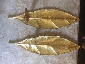 Set gold leaf candle holders for Sale in Lake Wales, FL