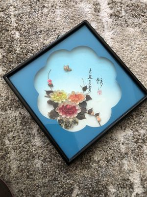 Antique Chinese art frame with flowers made of tiny shells for Sale in Laguna Niguel, CA