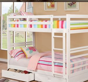 WHITE TWIN OVER TWIN BUNK BED FREE DELIVERY for Sale in Las Vegas, NV