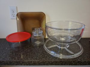 Glasswares 3 items- casa desert bowl, brown glass tray, jar for Sale in Woonsocket, RI