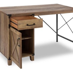 47 in. Rectangular Brown 1 Drawer Writing Desk with Solid Wood Material for Sale in West Covina, CA