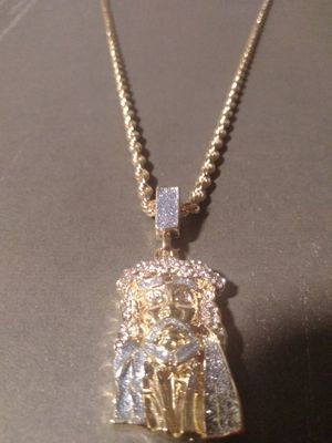 Gold plated Jesus piece and chain for Sale in Houston, TX