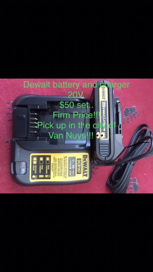 Dewalt battery and charger 20v. $50 set firm price for Sale in Los Angeles, CA