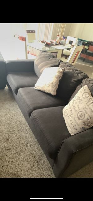 2 piece charcoal couch set+throw pillows included.Pool Set additional price! for Sale in Washington, DC