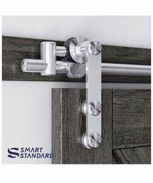 "SMARTSTANDARD 6.6Ft Stainless Steel Sliding Barn Door Hardware Kit-Smoothly & Quietly-Easy To Install, Fits 36""-40"" Wide Door Panel (J Shape) for Sale in Los Angeles, CA"
