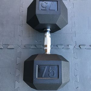 SINGLE 75 POUND DUMBBELL RUBBER HEX WEIGHTS RAGE FITNESS 75LB ROGUE NEW!! for Sale in Long Beach, CA