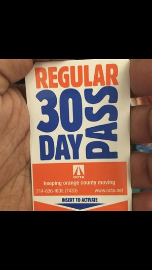 30 Day Bus Pass for Sale in Fountain Valley, CA