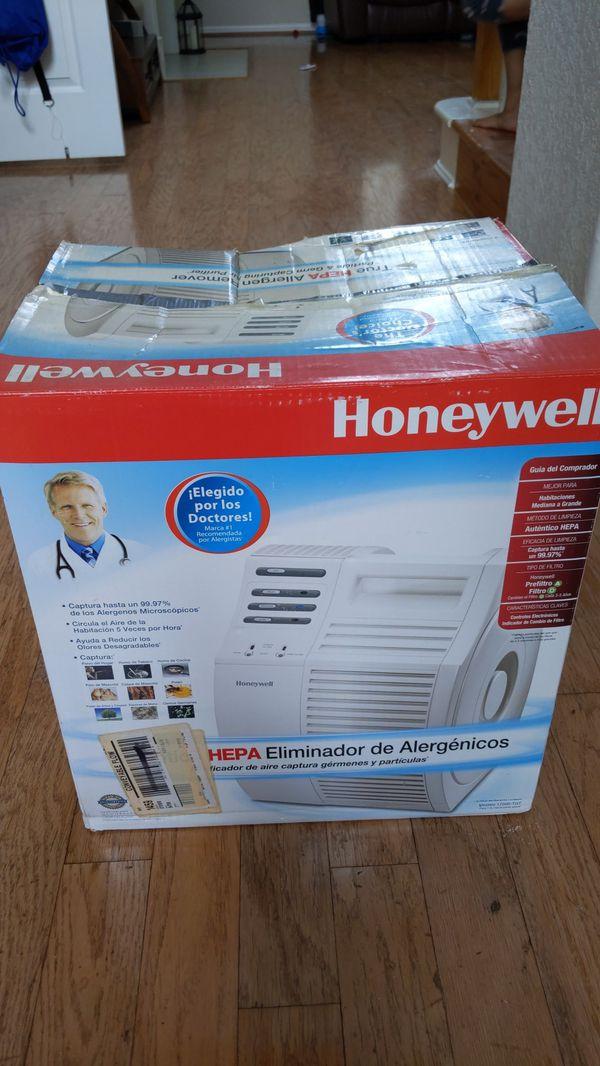 Honeywell Hepa indoor allergen removing air purifier.