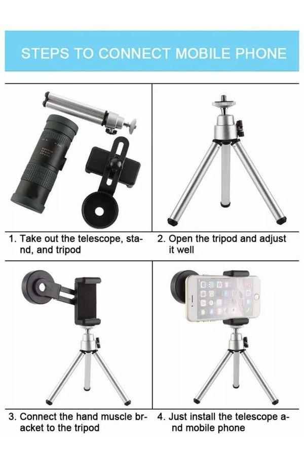 8-24x30 Telephoto Zoom Monocular Telescope, Waterproof Fogproof Night Vision Mon