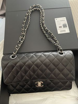 Authentic Chanel Medium Flap Caviar Leather Silver Hardware for Sale in Irvine, CA
