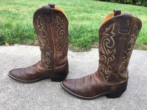 VINTAGE JUSTIN MEN'S 2253 BAY APACHE LEATHER WESTERN COWBOY BOOTS SIZE 9 1/2 D for Sale in Puyallup, WA