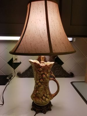 ANTIQUE VINTAGE PITCHER FRUIT LAMP WITH BRASS TOP AND BASE for Sale in Cypress, TX