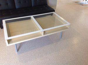 2 compartment table with glass top for Sale in Sudbury, MA