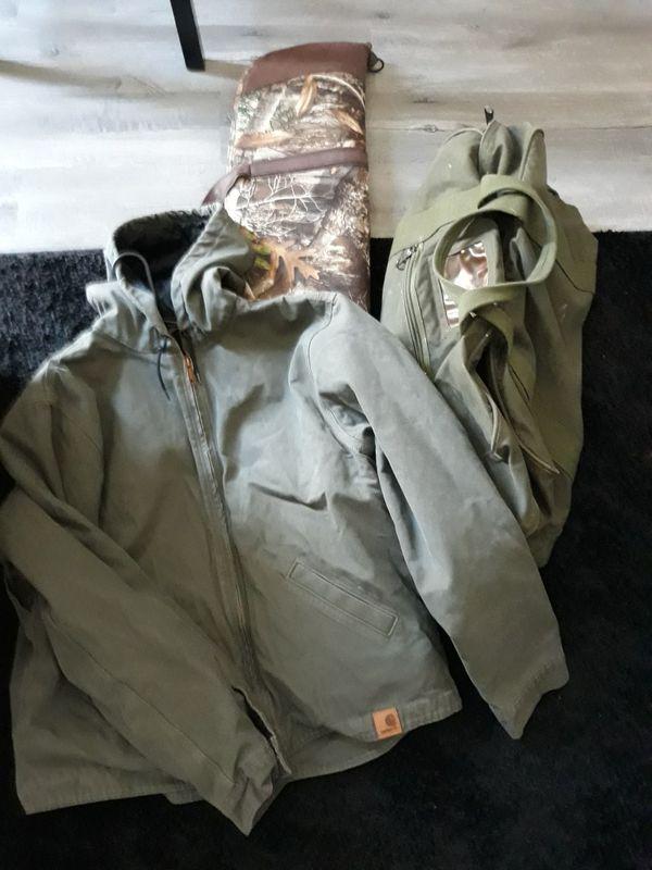 Carhart Jacket, Rifle Bag, Vietnam Era Military Issue Duffle Bag