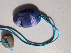 Painted beach stone necklace purple for Sale in Penn Hills, PA
