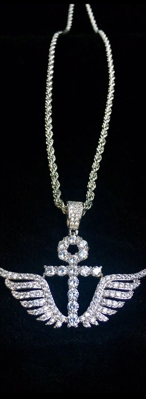 ANKH WINGS FULL DIAMONDS CZ 18K GOLD ROPE CHAIN MADE IN ITALY for Sale in Orlando, FL