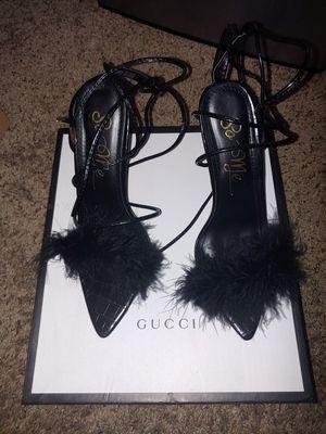 Black Clear Heels with Fur! BRAND NEW! for Sale in Marietta, GA