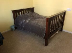 Pottery Barn Twin Bed with Mattress (chocolate wood) for Sale in San Diego, CA