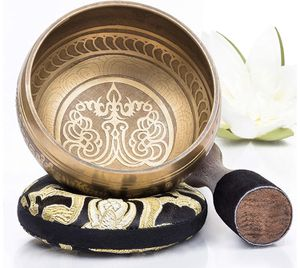 Silent Mind ~ Tibetan Singing Bowl Set ~ Bronze Mantra Design ~ With Dual Surface Mallet and Silk Cushion ~ Promotes Peace, Chakra Healing, and Mindf for Sale in San Juan, PR