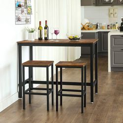Bar Table Set, Bar Table with 2 Bar Stools, Breakfast Bar Table and Stool Set, Kitchen Counter with Bar Chairs, Industrial for Kitchen, Living Room, P for Sale in Chino,  CA
