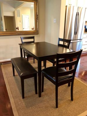 Brown Dining table set chairs bench for Sale in Baltimore, MD