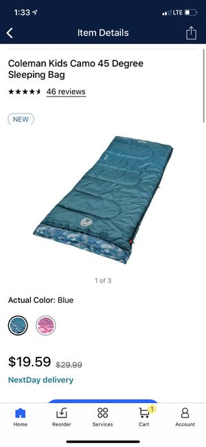 Coleman Kids Camo 45 Degree Sleeping Bag 13.80 x 8.30 x 8.30 Inches for Sale in Irvine, CA
