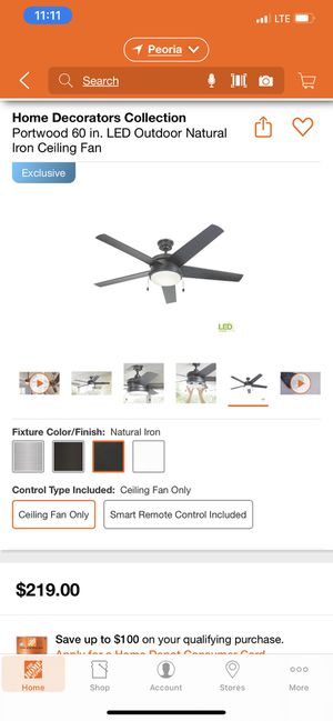 Portwood 60 inch outdoor ceiling fan with led light for Sale in Peoria, AZ