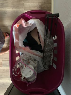 4 baskets of kids clothes,adult women's clothes (medium) and small bag of baby monitors for Sale in Houston, TX