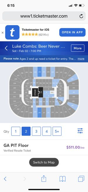 2 PIT LUKE COMBS TICKETS for Sale in Kernersville, NC