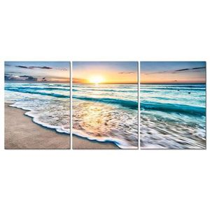 Large Sunset And Waves On The Beach Canvas Wall Art Home Decor for Sale in Hemet, CA