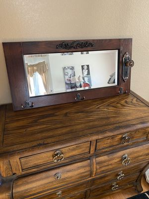 Antique wall hanging with mirror and coat rack. (Entry table SOLD) for Sale in Longmont, CO