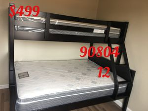 Twin/full bunk bed with mattresses. Assembly required. Assembly not included. Free delivery-$499.00 for Sale in Signal Hill, CA
