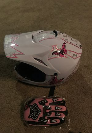 Brand new kids pink and white atv helmet for Sale in Rancho Cucamonga, CA