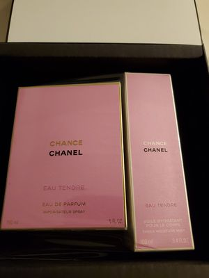 BRAND NEW AUTHENTIC CHANCE CHANEL SET PERFUME 5 FL OZ N SHEER MOISTURE MIST 3.4 FL OZ $ 140 OBO PRICE IS FIRM for Sale in Hesperia, CA