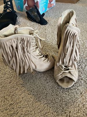 Heel booties with fringe (need some cleaning) for Sale in Ingleside, IL