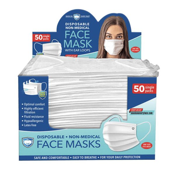 Disposable Face Mask with ear loops 50pk