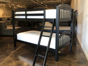 Twin over twin Bunk Bed plus Twin plush mattress (Free Delivery) for Sale in Tulsa, OK