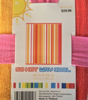 """(NEW) HUGE """"SO HOT WAY COOL"""" BEACH/POOL TOWEL - 5 ft. x 6 ft. for Sale in Compton, CA"""