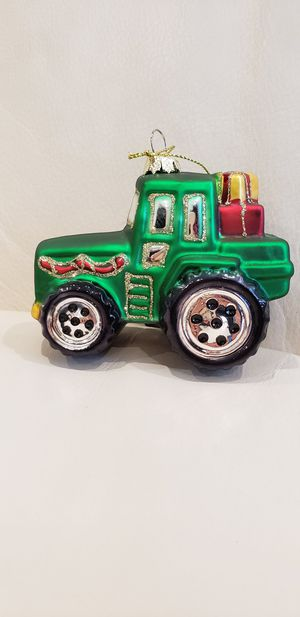 """Green Farm Tractor Christmas tree ornament decoration 4x3"""" high quality glass tractor ornament with sparkles carrying presents. Brand new with tags for Sale in Ontario, CA"""