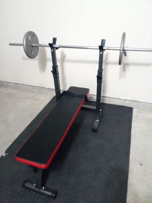 Weight bench, barbell + 50lbs. (exercise set) for Sale in Katy, TX