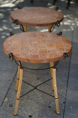 """#30353 Pair of 24"""" x 24"""" Diameter Faux Brick-Top End Tables for Sale in Oakland, CA"""