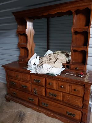 Vintage wood dresser with mirror and shelves. Dresser Part is very heavy. Bring help. Thanks Pick up in Pasadena for Sale in Pasadena, TX