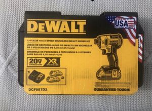 DeWalt 20-Volt MAX Lithium-Ion Cordless Brushless 1/4 in. 3-Speed Impact Driver with 2 Batteries 2.0Ah, Charger and Hard Case for Sale in Silver Spring, MD