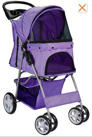3 Wheels Pet Stroller Cat Dog Cage Stroller Travel Folding Carri purple for Sale in Compton, CA