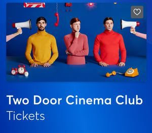 4 eTickets - Two Door Cinema Club concert @ Rivera Theater for Sale in Chicago, IL