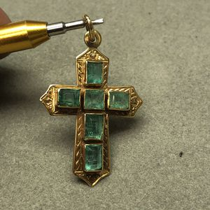 Vintage 18K yellow gold emerald cross for Sale in Baltimore, MD