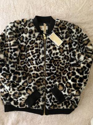 Michael Kors bomber faux fur jacket size (L) for Sale in Renton, WA