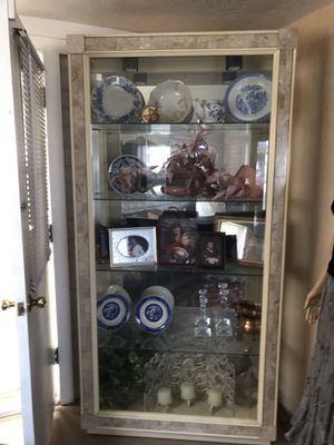 """Fabulous china cabinet! 7' tall 13"""" deep 40 wide! Beveled glass in front with marble trim around glass. 4 glass shelves that are grooved for dishes. for Sale in Yuma, AZ"""